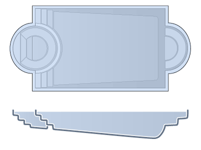 Large Combination Fiberglass Pool - Caesars Palace