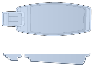 Large Combination Fiberglass Pool - Olympus