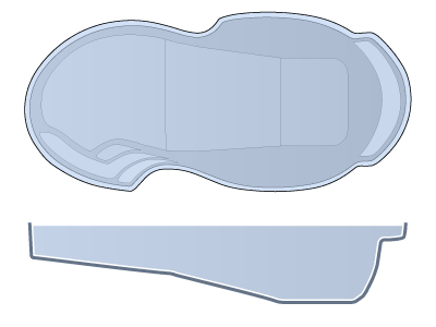 Large Figure 8 Fiberglass Pool - Atlantic Deep
