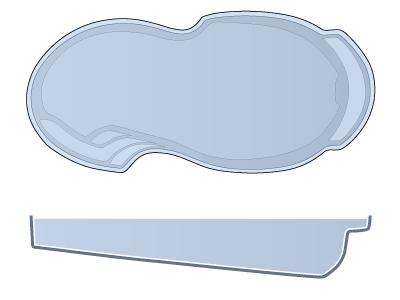 Large Figure 8 Fiberglass Pool - Atlantic