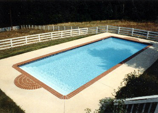 Large Rectangle Fiberglass Pool - Oceanside