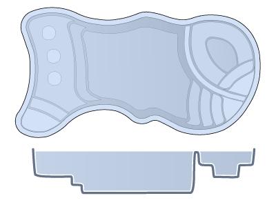 Small Combination Fiberglass Pool - Kokohani