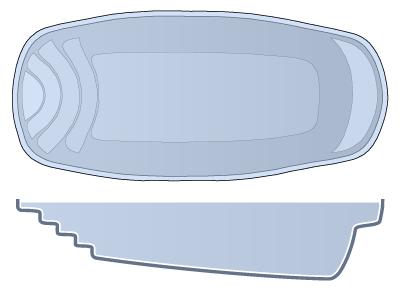 Small Oval Fiberglass Pool - Palm Beach